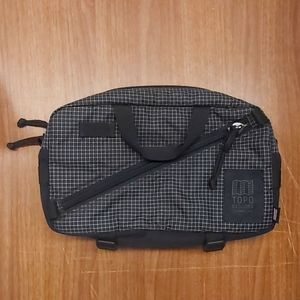 Topo designs cross body bag. Black with white check made in USA